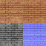 Brick wall seamless generated hires texture (bump & normal map) Stock Images