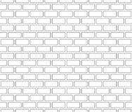 Brick wall seamless pattern, outlined, black isolated on white background, vector illustration. Brick wall seamless pattern, outlined brick wallpaper, black stock illustration