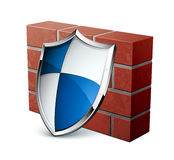 Brick wall and shield Royalty Free Stock Photos