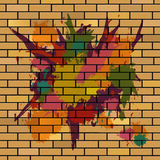 Brick Wall Shows Brick-Wall Splattered And Splashes Stock Photo