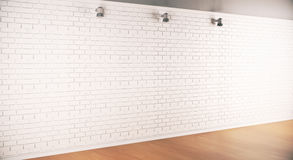 Brick wall side. Side view of interior with empty brick wall, wooden floor and ceiling lamps. Mock up, 3D Rendering Stock Photo