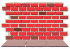 Brick Wall with Sidewalk. An old brick wall with sidewalk Royalty Free Stock Images
