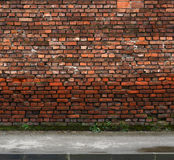 Brick wall with sidewalk Stock Images