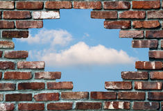 Brick wall and sky stock image