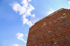 Brick wall on sky background Stock Images