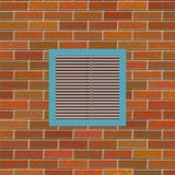 Brick wall with square vent. Background illustration of brick wall with air conditioning vent Stock Photo