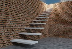 Brick wall and stair to sky. Success concept. 3d render illustration. Brick wall and stair to sky. Success concept. 3d render Royalty Free Stock Photography