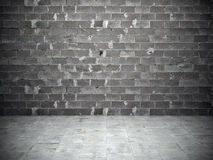 Brick wall and stone floor. Black and white background of brick wall and stone floor Royalty Free Stock Photos