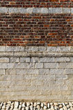A brick wall with a streak of light of the sun creating a textured wall Royalty Free Stock Image