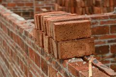Brick wall with string line Royalty Free Stock Photo