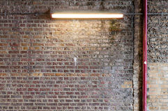 Brick Wall with Strip Light (2) Royalty Free Stock Image
