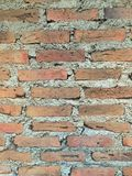 Brick wall. Structure with cement stock photography