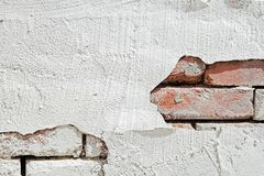 Brick wall with stucco. Stucco peeling from brick wall in an urban alley Royalty Free Stock Images