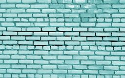 Brick wall surface in cyan tone. Abstract architectural background and texture for design stock images