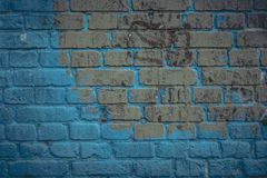 Brick wall surface in navy blue tone. Abstract architectural background and texture for design royalty free stock photography
