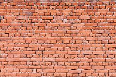 Brick wall texture. Old red brick wall texture front face royalty free stock photos