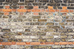 Brick wall texture. This is an image of a brick wall background texture with various colored bricks from a dark brown, beige, and London clay. There is also stock photo