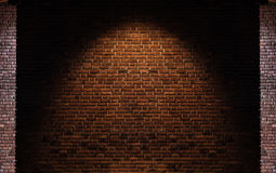 Brick wall texture backgrounds, with light spot on center Royalty Free Stock Photo