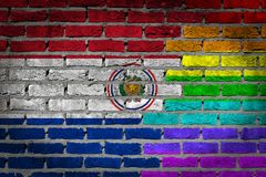 Brick wall texture - Flag of Paraguay with rainbow flag. Very old dark red brick wall texture - Flag of Paraguay with rainbow flag Royalty Free Stock Image