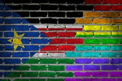 Brick wall texture - Flag of South Sudan with rainbow flag. Very old dark red brick wall texture - Flag of South Sudan with rainbow flag Royalty Free Stock Images