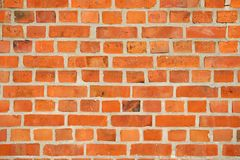 Brick wall textured surface of red color on masonry background Stock Images