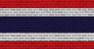 Brick wall thai flag illustration design Royalty Free Stock Photo