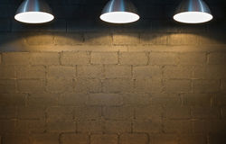 Brick wall and three spotlights. Stock Images