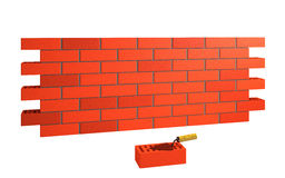 Brick wall and trowel Royalty Free Stock Photo