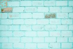 Brick wall, turquoise color, wallpaper or background with place for text. Turquoise color brick wall, wallpaper or background with place for text, Ukraine stock images
