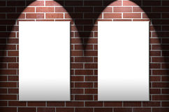 Brick Wall with Twin Notice Areas Royalty Free Stock Image