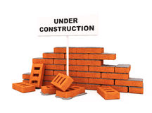 Brick wall under construction. Isolated over white conceptual 3d model illustration Royalty Free Stock Images