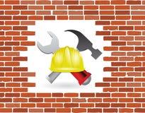 Brick wall under construction Stock Photo