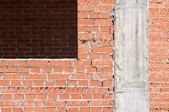 Brick wall under construction Stock Images