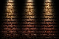 Brick wall under the spotlight Royalty Free Stock Photo