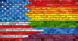Brick Wall USA and Gay flags. Illustration Royalty Free Stock Photo