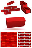 Brick and wall vector illustration set Royalty Free Stock Photo