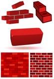 Brick and wall vector illustration set stock illustration