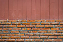 Brick wall with vertical line brown background, splitted Royalty Free Stock Images