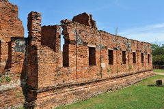 Brick wall at wat Phar Srisanphet , Thailand Royalty Free Stock Photos