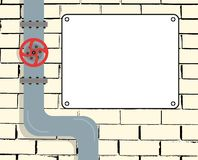Brick wall with water or gas pipeline or oil pipeline. Water valve. Text Board. Vector illustration. vector illustration