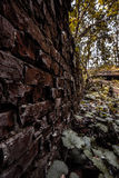 Brick wall. Way into the abandoned building Royalty Free Stock Images