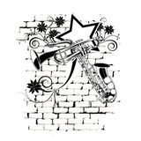 Brick background jazz music Stock Photos