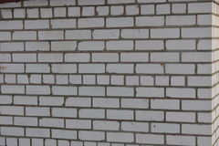 Brick wall white brick masonry in cement mortar Stock Image