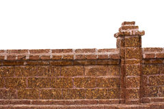 Brick wall white isolated. Brick wall in white isolated royalty free stock images