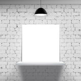 White shelf with poster. Brick wall and white shelf with poster royalty free stock photo