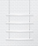 Brick wall and white shelve. Background Stock Photos