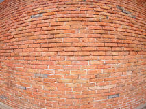 Brick wall with wide angle fisheye view. Brown brick wall with wide angle fisheye view royalty free stock image