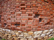 Brick wall with wide angle fisheye view. Red Brick wall with wide angle fisheye view stock images