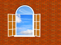 Brick wall with a window Stock Photos
