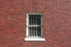 Brick wall, window and bars. Brick wall with window and bars Royalty Free Stock Images